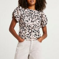 RIVER ISLAND Beige animal print waisted puff sleeve top / womens on trend tops