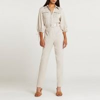 RIVER ISLAND Beige belted jumpsuit ~ evening utility style jumpsuits