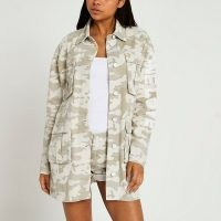 RIVER ISLAND Beige camo print utility shirt / womens slogan print over shirts / camouflage prints