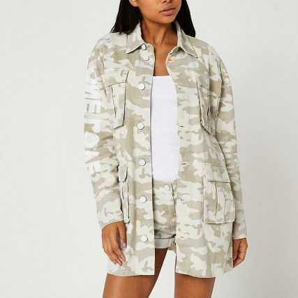 RIVER ISLAND Beige camo print utility shirt / womens slogan print over shirts / camouflage prints - flipped
