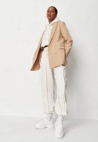 MISSGUIDED beige co ord tailored longline blazer ~ womens on trend neutral blazers ~ women's fashionable padded shoulder jackets