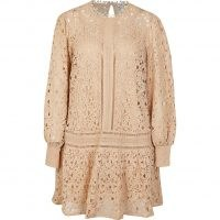 RIVER ISLAND Beige lace mini dress ~ flared hem cut out detail dresses