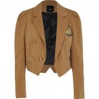 RIVER ISLAND Beige puff sleeve badge detail cropped blazer ~ crop hem blazers ~ womens military style jacket ~ women's casual cropped jackets