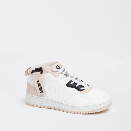 River Island Beige RI branded high top trainers - flipped