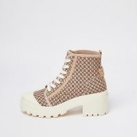 RIVER ISLAND Beige RI monogram canvas lace up ankle boot / womens chunky block heel logo print boots