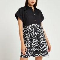 RIVER ISLAND Black animal print mini shirt dress