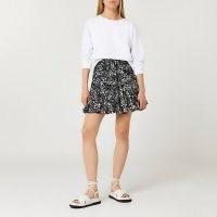 RIVER ISLAND Black animal print mini skirt / womens flippy hem skirts