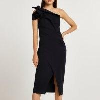 RIVER ISLAND Black asymmetric midi dress – one shoulder LBD – evening dresses – glamorous going out fashion