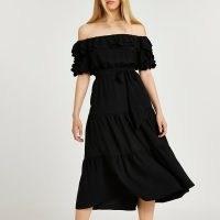 River Island Black bardot frill hem midi dress   off the shoulder dresses   womens peasant style summer fashion