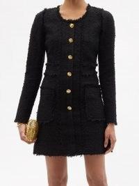 GIAMBATTISTA VALLI Buttoned tweed mini dress ~ textured frayed edge dresses ~ gold button detail ~ womens designer fashion