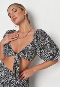 MISSGUIDED black co ord zebra print tie front milkmaid bralet / striped monochrome animal prints / balloon sleeve bralets / glamorous crop tops