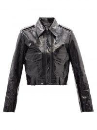 KHAITE Cordelia cropped black patent-leather jacket ~ women's luxe crop hem jackets