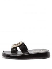 ROGER VIVIER Crystal-buckle black-leather slides ~ embellished sliders