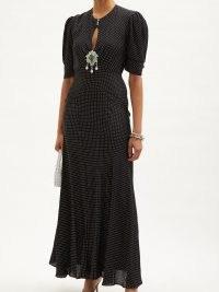 PACO RABANNE Crystal-embellished polka-dot crepe maxi dress ~ LBD ~ womens vintage style glamour ~ glamorous evening event dresses