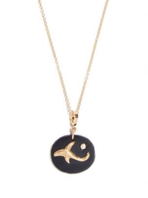 AZLEE Dolphin diamond, jade & 18kt gold necklace / womens ocean inspired pendant necklaces / dolphins / women's fine jewellery / sea themed pendants - flipped