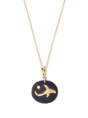AZLEE Dolphin diamond, jade & 18kt gold necklace / womens ocean inspired pendant necklaces / dolphins / women's fine jewellery / sea themed pendants