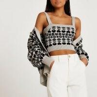RIVER ISLAND Black fairisle cami and cardi set / womens camisole and cardigan sets / fashionable knitwear co ords