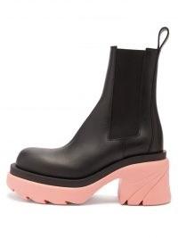 BOTTEGA VENETA Flash bubblegum-pink chunky-sole black-leather boots | womens block heel chelsea boot