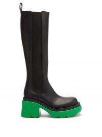 BOTTEGA VENETA Flash green chunky-sole black leather knee-high boots ~ womens colourblock boot
