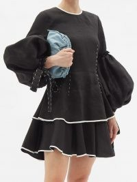 AJE Gracious balloon-sleeve linen-blend mini dress ~ voluminous tiered LBD ~ balloon sleeve tier hem dresses