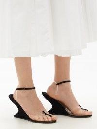 SALVATORE FERRAGAMO 1947 Invisible black suede sandals | sculptural wedge heels | sculpted wedges