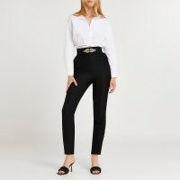 River Island Black knot front cigarette trousers | womens chic waist detail evening trousers