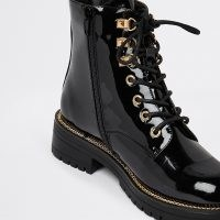 RIVER ISLAND Black lace up chunky ankle boot / womens shiny patent combat boots / women's high shine footwear