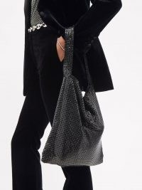 PACO RABANNE Black mesh-chainmail shoulder bag / slouchy shimmering bags