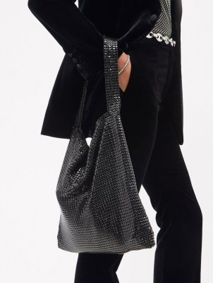 PACO RABANNE Black mesh-chainmail shoulder bag / slouchy shimmering bags - flipped