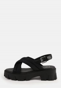 MISSGUIDED black padded cross over chunky sole sandals / womens crossover front slingbacks