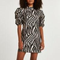 RIVER ISLAND Black puff sleeve animal print shift dress / zebra prints / monochrome dresses