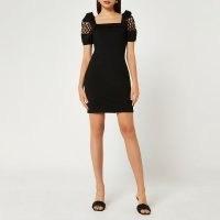 River Island Black puff sleeve mini dress | LBD