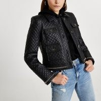 RIVER ISLAND Black RI branded pocket PU quilted jacket / womens logo detail jackets / cool casual outerwear