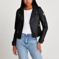 RIVER ISLAND Black RI faux leather zip detail jacket ~ biker jackets ~ moto ~ womens zip detail outerwear