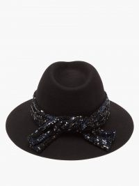 MAISON MICHEL Rico black sequinned wool-felt fedora hat / sequin embellished fedoras / womens hats