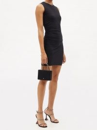 WOLFORD X AMINA MUADDI Ruched-side jersey dress – LBD – sleeveless fitted evening dresses