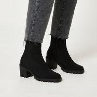 RIVER ISLAND Black sock boots ~ womens block heel footwear