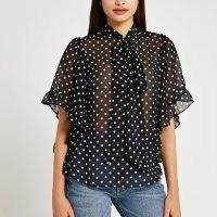 RIVER ISLAND Black spot print frill cape blouse top / sheer polka dot blouses