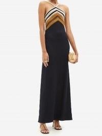 PROENZA SCHOULER Striped halterneck knit maxi dress ~ LBD ~ elegant black halter neck occasion dresses ~ womens chic event fashion