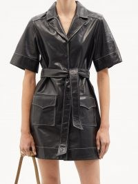 GANNI Topstitched leather shirt dress ~ black tie waist utility dresses