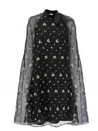 ERDEM Verdie floral-embroidered organza cape dress – sheer overlay event dresses