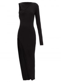 RICK OWENS Ziggy recycled-cashmere blend jersey dress ~ black knitted one sleeve dresses ~ thigh high slit hem ~ asymmetric fashion