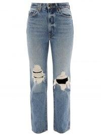 KHAITE Abigail distressed cropped straight-leg jeans ~ womens ripped denim
