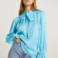 RIVER ISLAND Blue animal pussybow blouse / tie neck detail blouses / frill sleeve top