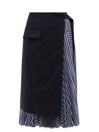 SACAI Apron striped cotton-poplin midi skirt | contemporary overlay skirts