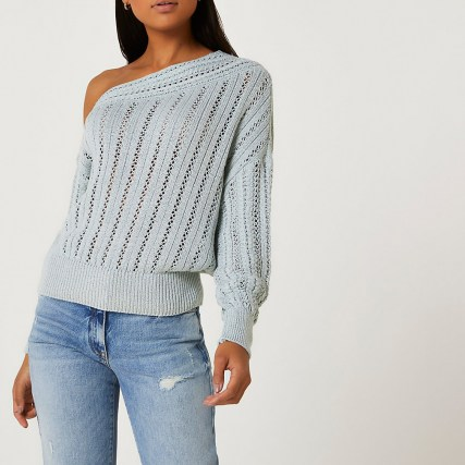 Blue asymmetric long sleeve jumper | one shoulder knitted jumpers - flipped