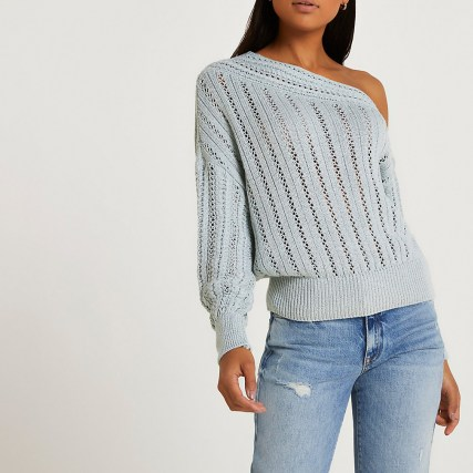 Blue asymmetric long sleeve jumper | one shoulder knitted jumpers