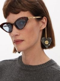 GUCCI Cat-eye tortoiseshell-acetate sunglasses with detachable heart-shaped charms ~ womens retro eyewear ~ brown tort rims ~ women's vintage style accessories