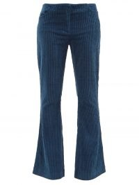 ACNE STUDIOS Cotton-blend blue corduroy flared-leg trousers   womens retro flares   70s vintage style fashion   cord flare hem pants