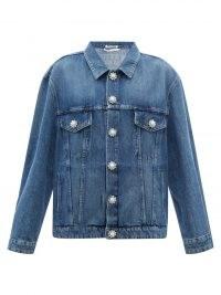 MIU MIU Crystal-button blue denim jacket ~ womens casual classic designer jackets